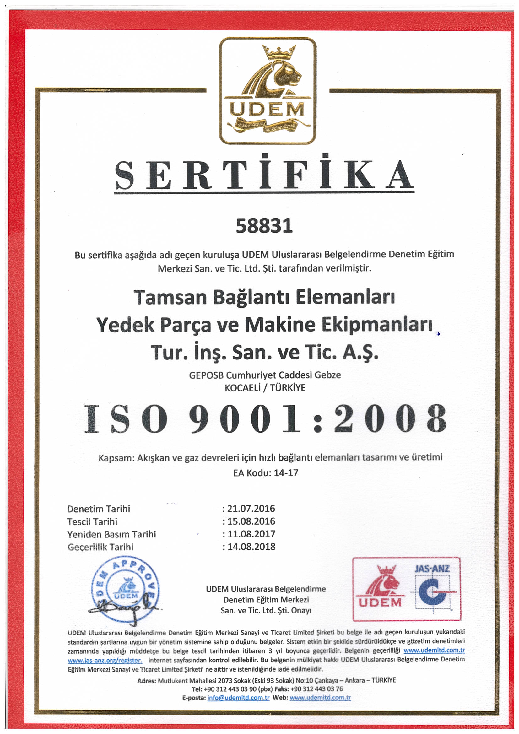 ISO 9001:2008 <br>Quality Management System Certificate
