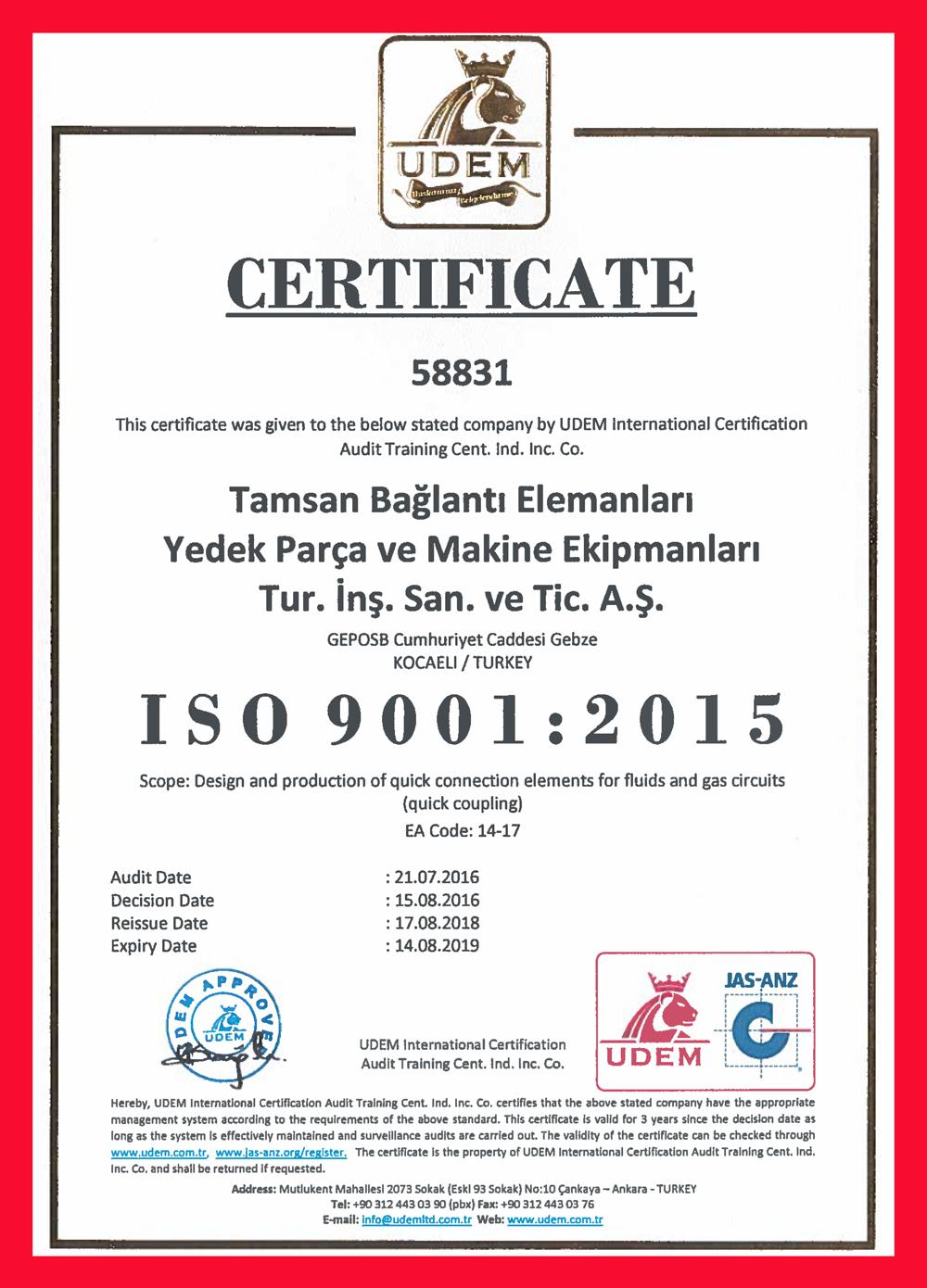 ISO 9001:2015 <br>Certificado del sistema de gestión