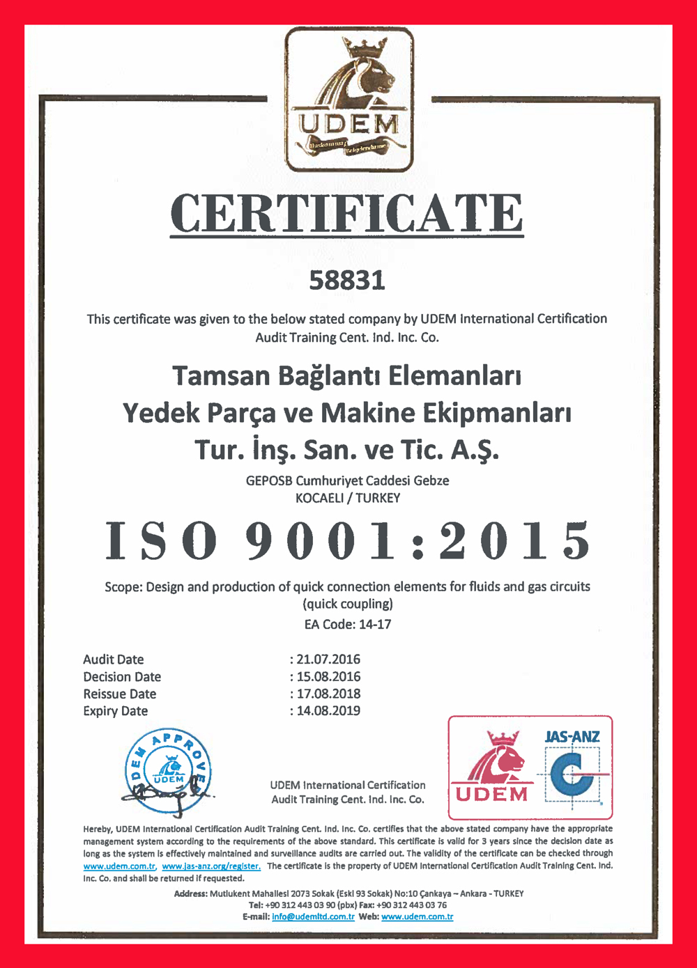 ISO 9001:2015 <br>Quality Management System Certificate