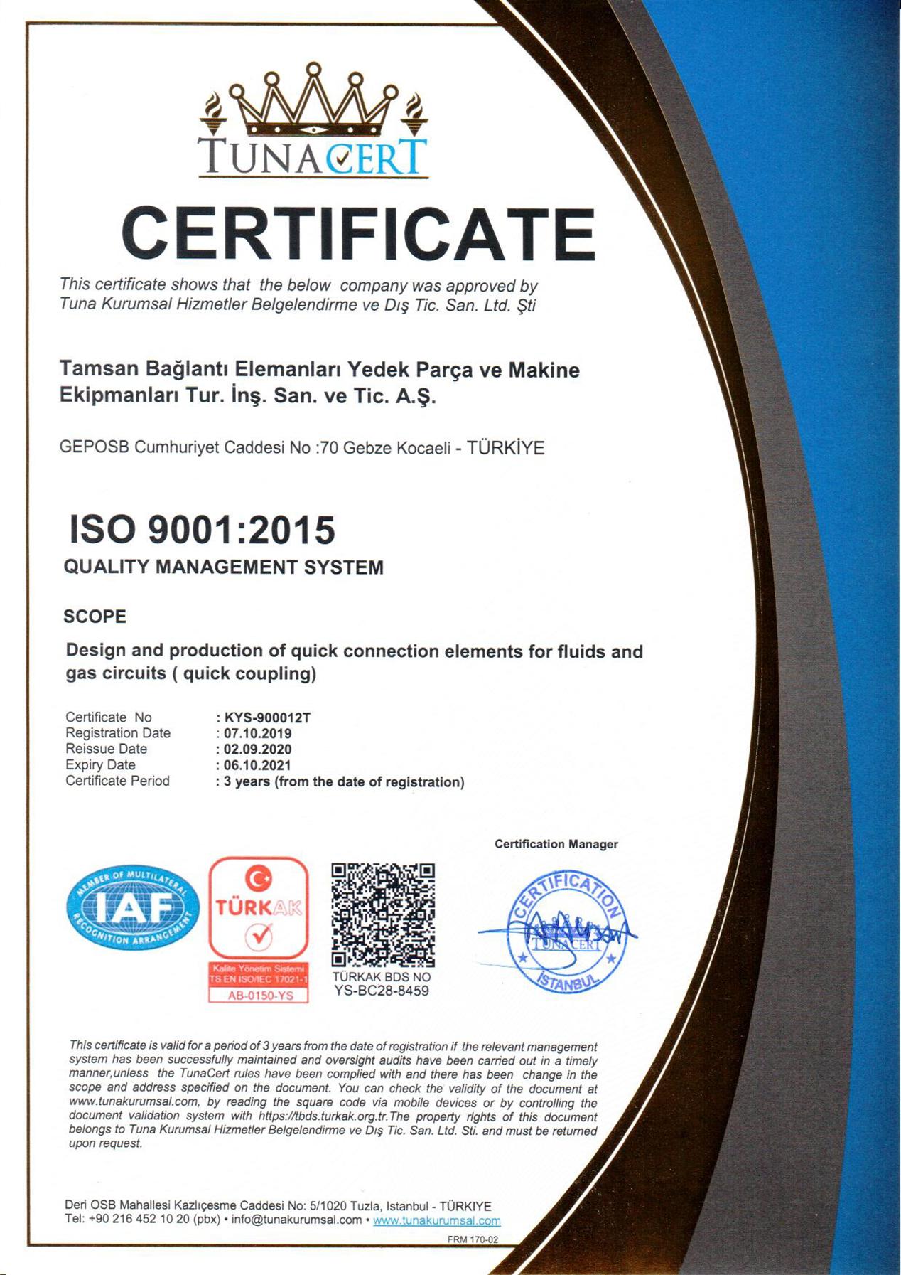 ISO 9001:2015 <br>Certificat de Gestion De Système de la Qualité