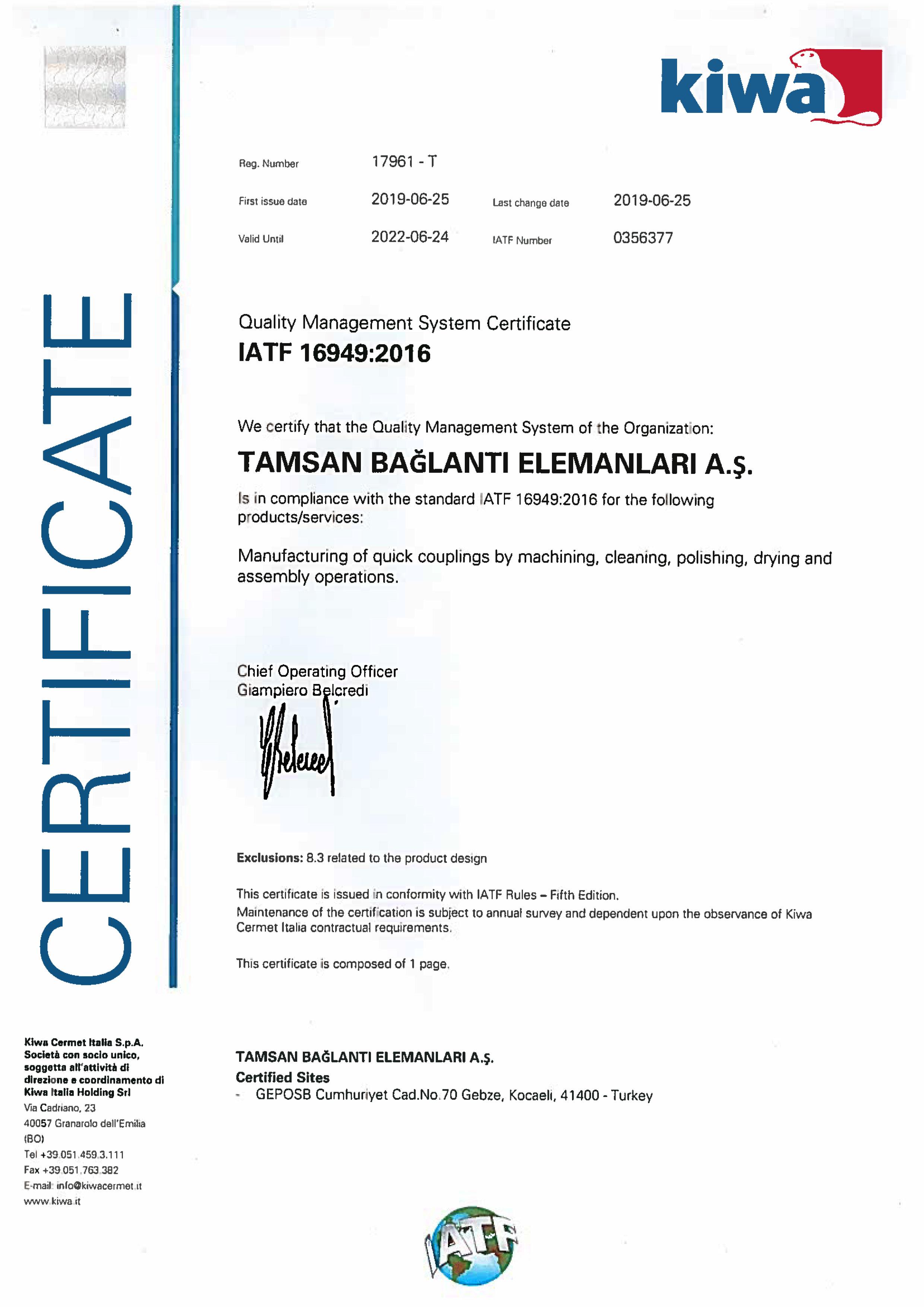 IATF 16949:2016 <br>Système de Gestion de la Qualité Automobile